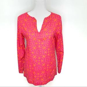 Finch Bright Pink Cotton Long Sleeve Tunic S